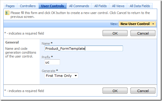 New user control 'Product_FormTemplate' in Code On Time Designer