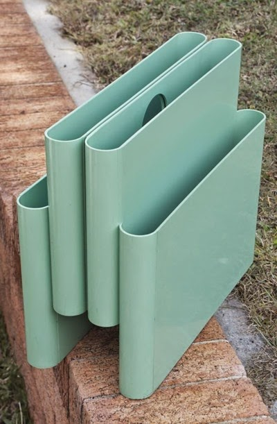 Blue green seafoam 4676 Portariviste magazine rack by Giotto Stoppino for Kartell Italy