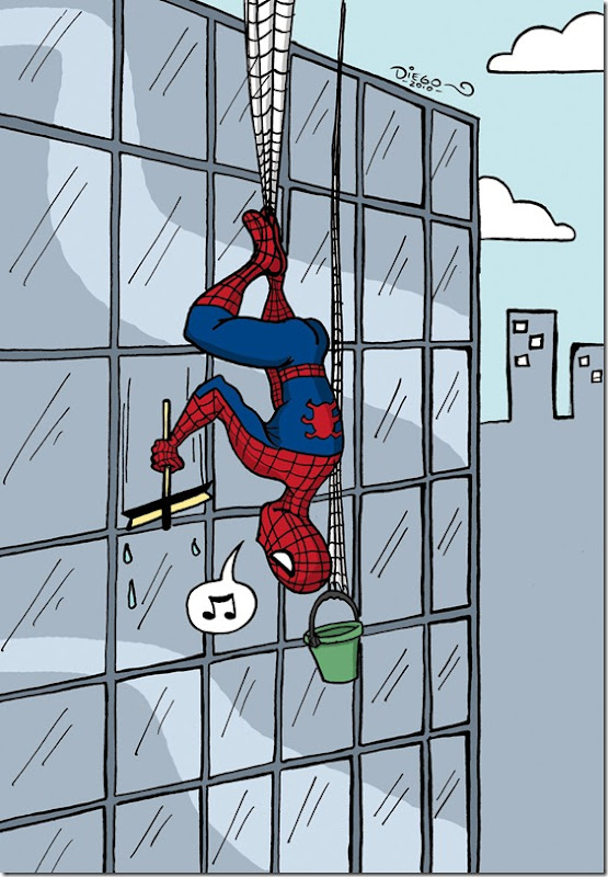 spiderman limpiando