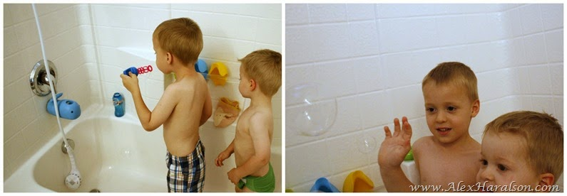 blowing bubbles in the bath tub