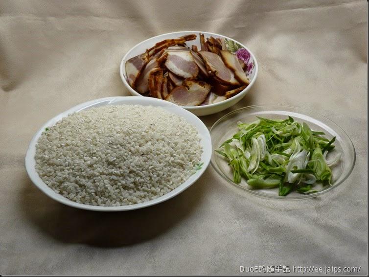 電子鍋臘肉飯-材料