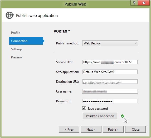 Visual Studio 2012 Publish project with Web Deploy and successful connection validation