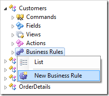 Creating a new business rule for Customers controller.