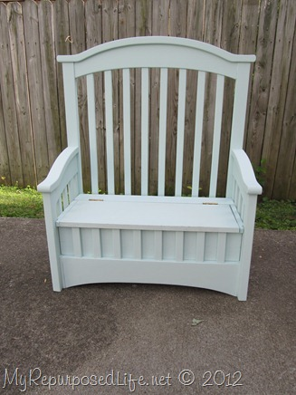 bench-toy box made from a crib