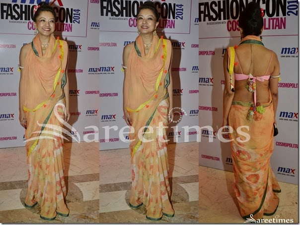 Printed_Peach_Georgette_Saree