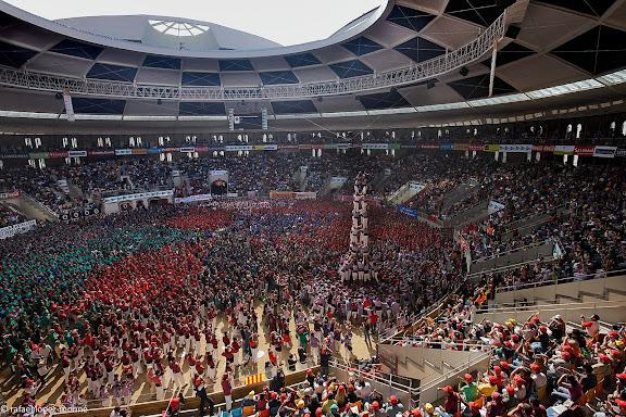 Colla Jove Xiquets de Tarragona, 5 de nou amb folre.XXIIIe Concurs de Castells a Tarragona.Tarraco Arena Placa (antiga placa de braus).Tarragona, Tarragones, Tarragona