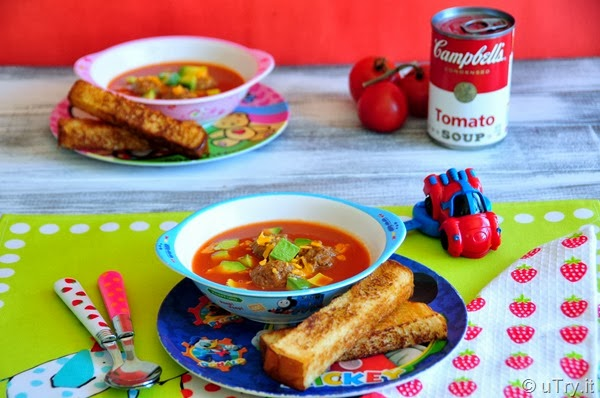 Meatballs Tomato Soup with Toast Soldiers