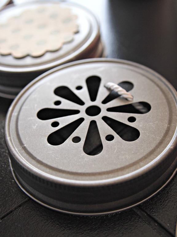 vintage daisy cut mason jar lid