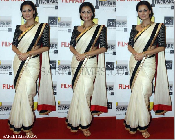 Dia_Mirza_White_Designer_Saree