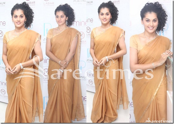 Taapsee_Gold_Plain_Saree