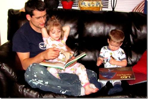 Daddy Ben readin to Elaine and Nolan
