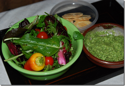 Home grown lunch... Freshly picked salad + wild greens dip