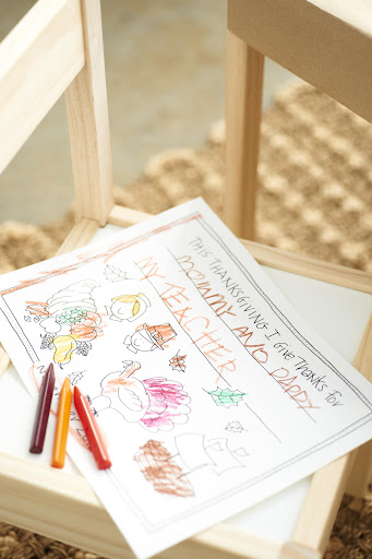 Kids placemats with my artwork are great for kids to color in. You can laminate and use them as placemats afterwards, or put them in your scrapbook. Get the clip art here: http://www.marthastewart.com/951490/darcy-millers-thanksgiving-ideas. (Ikea wood table with chairs,