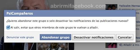 Darse de baja de grupo en Facebook