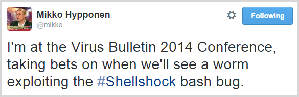 I'm at the Virus Bulletin 2014 Conference, taking bets on when we'll see a worm exploiting the #Shellshock bash bug.