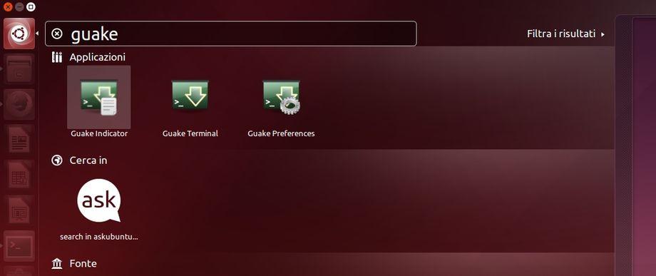 Guake Indicator - Dash Ubuntu