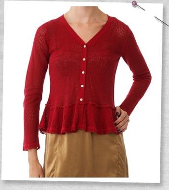 #349 Mesh short cardigan rouge