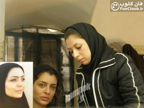 عکس بازیگر زن ایرانی در حال گریم