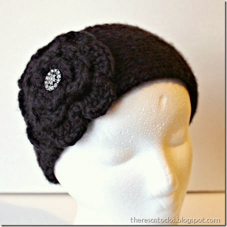 black knitted ear warmer with bling
