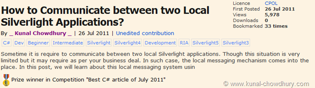 Prize winner in Competition - Best C# Article of July 2011