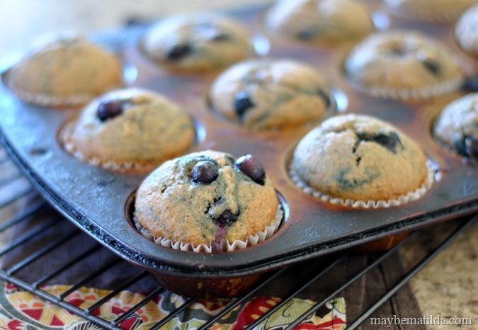 Healthier Banana Blueberry Muffins