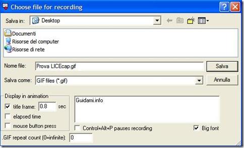 LICEcap opzioni registrazione