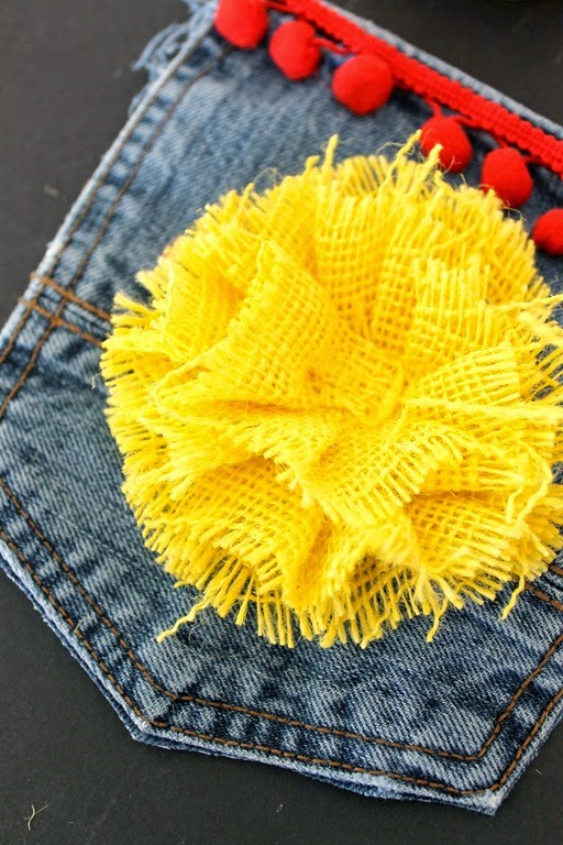 jean purse with burlap bow
