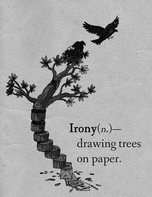 A tree drawn on paper; Irony: drawing trees on paper.