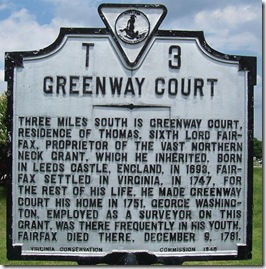 Greenway Court, Marker T-3 east of Winchester, VA (Click any photo to enlarge)