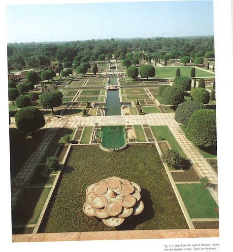 View from the roof of Viceroy's house into the Mughal garden. I love the hexagonal structure of the fountains at all of the  intersections.
