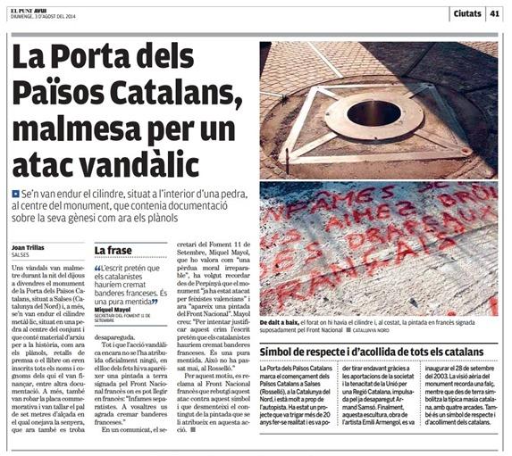 profanacion del monument dde la pòrta de Salses article de l'AVUI