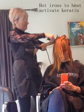 straightening to activate keratin with hot irons