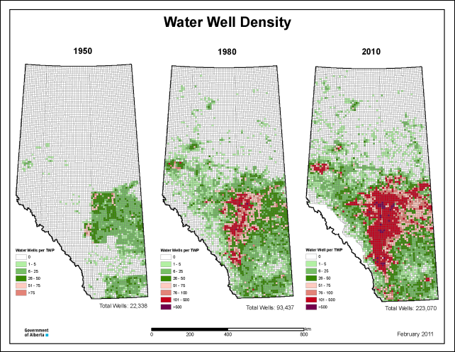 Water well density in Alberta, Canada, 1950-2010. Graphic: Alberta Environment and Sustainable Resource Development