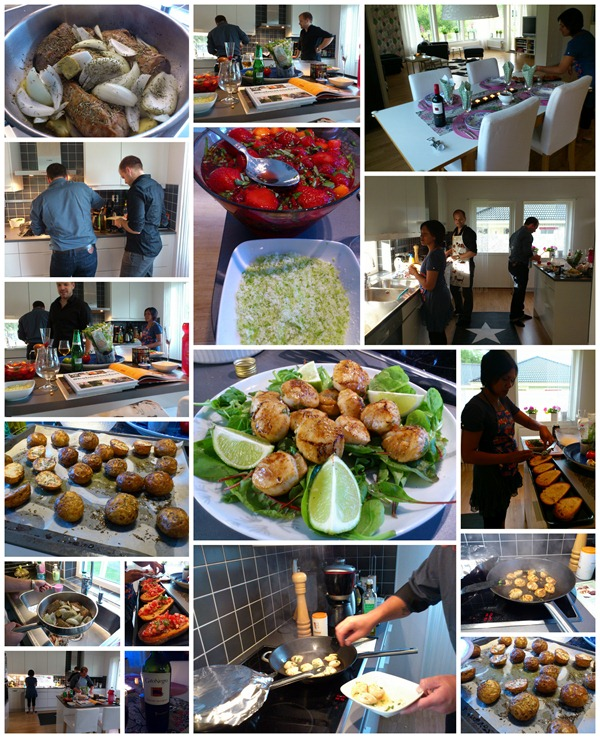 120721 Hos E & J och lagar mat
