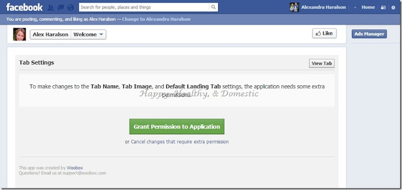 8 Custom FB app tabs grant permission