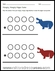 Use the game Hungry, Hungry Hippos to teach math with this free printable sheet.
