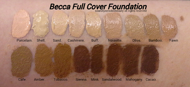 Becca Ultimate Coverage Complexion Creme Full Cover Foundation; Review & Swatches of Shades; Porcelain, Shell, Sand, Cashmere, Buff, Noisette, Olive, Bamboo, Fawn,  Cafe, Amber, Tobacco, Sienna, Mink, Sandalwood, Mahogany, Cacao,