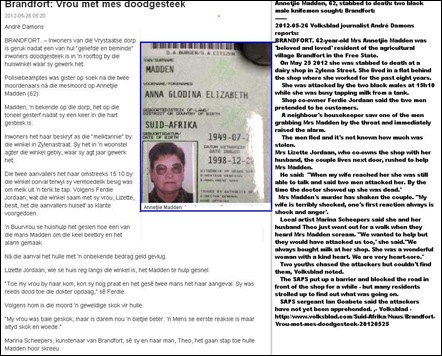 MADDEN Annetjie 62 stabbed to death dairy shop Brandfort FS two bl knifemen May 25 2012