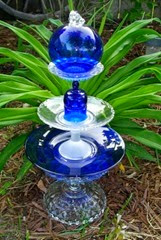 blue and clear glass art