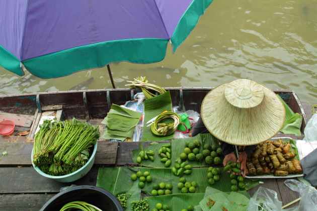 Vegetable Seller at Taling Chan Floating Market, Bangkok