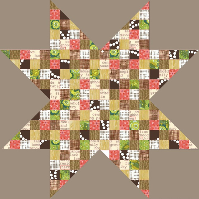 pantone resilience large star quilt, olive green salmon taupe