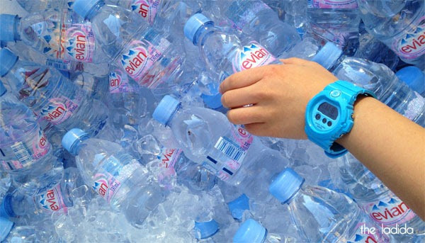 evian Live Young Backyard - Martin Place, Sydney, Bottles, Baby G Blue Watch