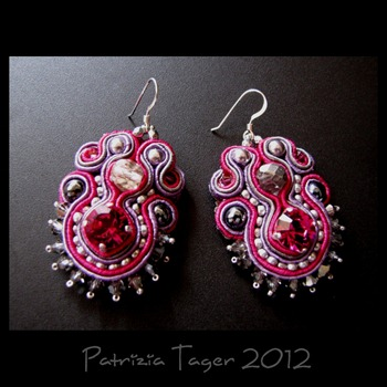 Gray, Lilac, hot pink, silver earrings 01