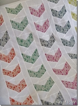 Close up Feathers paper pieced quilt