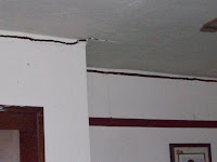 The ceiling of the 2nd floor at 3229 Spruce Avenue shows the crack where the third floor was lifted away