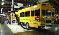 A new Ford E-450 chassis, Azure Balance parallel hybrid elctric drive, and Collins-body special needs bus is readied for delivery to the Napa Valley Unified School District