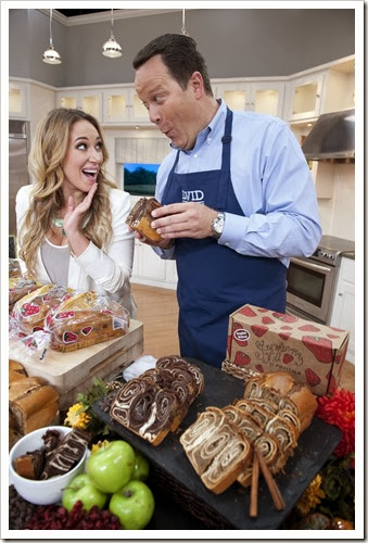 David Venable and Haylie Duff play during QVC's In The Kitchen with David