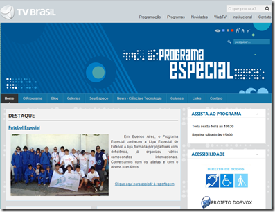 Imagem do site do Programa Especial