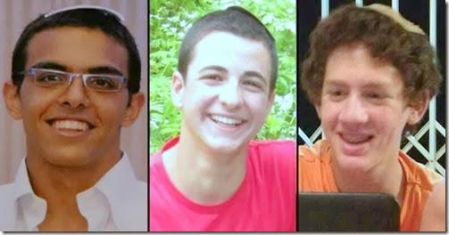 Eyal Yifrach (L), Gilad Shaar and Naftali Frankel