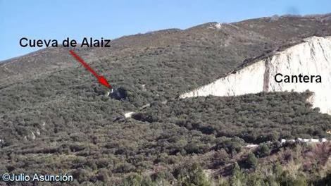 Localización de la cueva de Alaiz cercana a la cantera